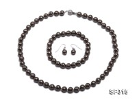 8mm Black Sea Shell Pearl Set
