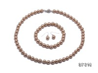 8mm golden champagne round seashell pearl necklace