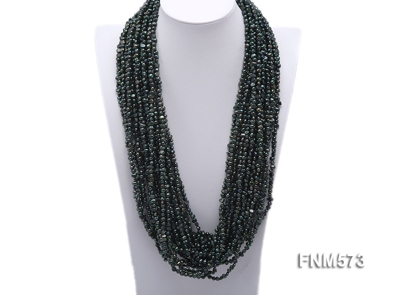 Dark Green 6-7mm chunky freshwater pearl necklace