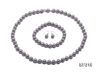 8mm grey seashell pearl necklace bracelet earring set