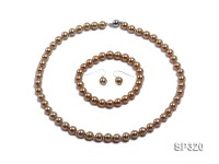 8mm Coffee seashell pearl necklace bracelet earring set
