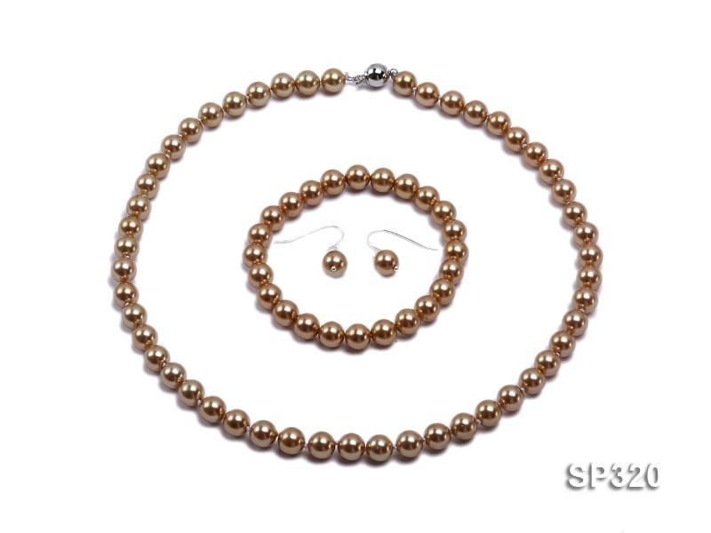 8mm Coffee seashell pearl necklace bracelet earring set