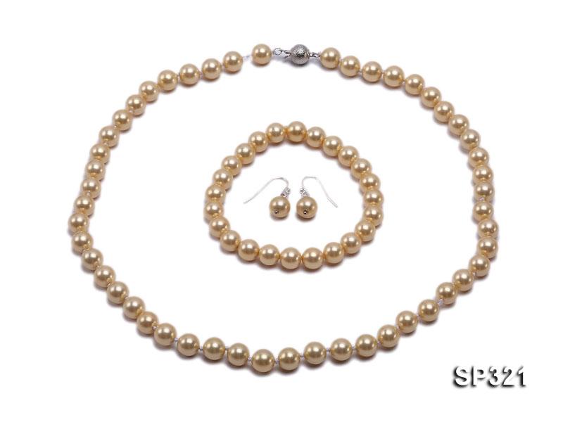8mm light yellow seashell pearl necklace bracelet earring set