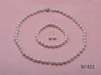 8mm white seashell pearl necklace bracelet earring set
