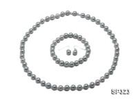 8mm light green and white seashell pearl necklace bracelet earring set