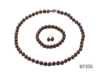 8mm coffee south sea shell pearl necklace and earring set