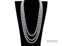 10mm natural white round freshwater pearl opera necklace