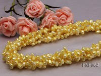 Five-stand 5-8mm Lemon-yellow Freshwater Pearl Necklace