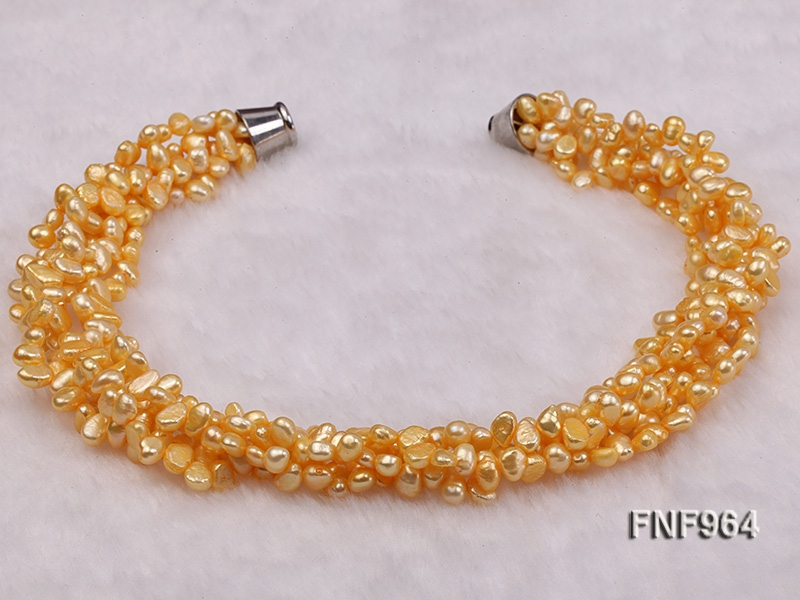 Five-strand 7-10mm Yellow Flat Freshwater Pearl Necklace