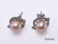 8mm Pink Round Freshwater Pearl Earrings