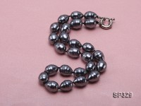 12×15.5mm Black Sea Shell Pearl Necklace