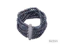 8 strand 5mm peacock green freshwater pearl bracelet