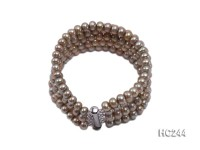 5 Strand 6.5mm yellow freshwater pearl bracelet
