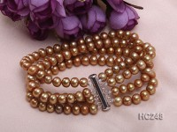 Four-strand 6.5mm yellow round freshwater pearl bracelet