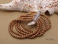 5 Row Golden Freshwater Pearl Bracelet