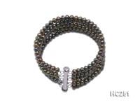 5 strand 5mm dark golden round freshwater pearl bracelet