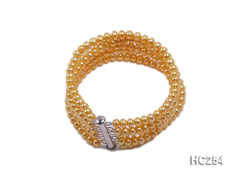 Five-strand 4x5mm yellow round freshwater pearl bracelet