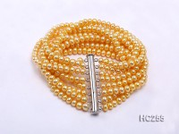 Exotic eight-row yellow freshwater pearl bracelet