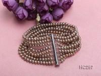 8-strand 4x5mm yellow round freshwater pearl bracelet