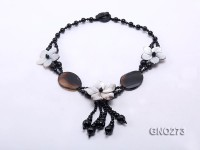 Extraordinary black agate & silver shell flower necklace