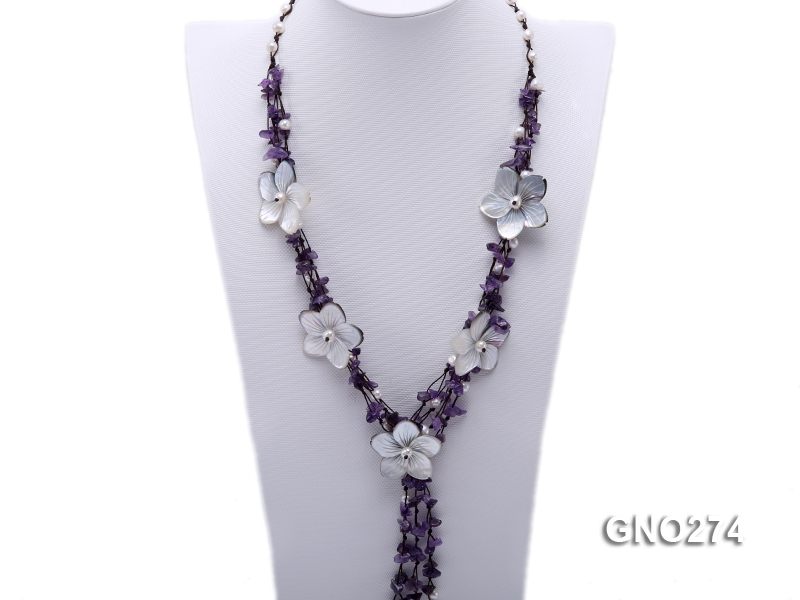 Dreamy amethyst chip & natural shell flower & white freshwater pearl necklace