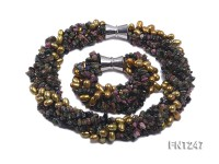 Breen Freshwater Pearl & Colorful Tourmaline Chips Necklace and Bracelet Set