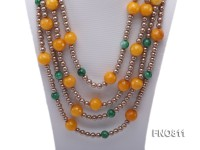 Yellow Jade Korean Jade & Shell Pearl Opera Necklace