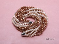 Six-strand White and Champagne Freshwater Pearl Necklace