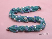 6-strand light blue agate & freshwater pearl necklace
