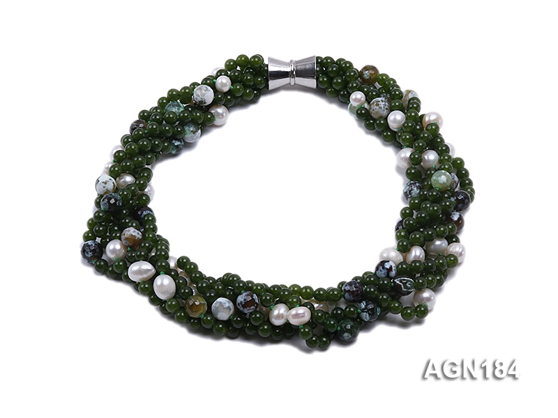 6-strand jade-green agate & freshwater pearl necklace