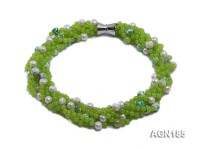 6-strand apple-green agate & freshwater pearl necklace