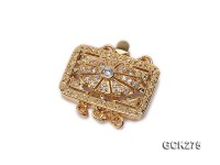 15.5x19mm 18K Golden Gold-plated Clasp Inlaid with Shiny Zircons