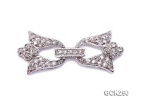 14.5x30mm 18K White Gold-plated Clasp Inlaid with Shiny Zircons