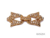 14.5x30mm 18K Golden Gold-plated Clasp Inlaid with Shiny Zircons