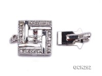 14.5x15mm 18K White Gold-plated Clasp Inlaid with Shiny Zircons
