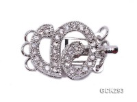 15x17mm 18K White Gold-plated Clasp Inlaid with Shiny Zircons