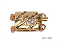 12.5x16mm 18K Golden Gold-plated Clasp Inlaid with Shiny Zircons