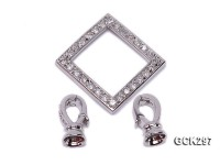 20x40mm 18K White Gold-plated Clasp Inlaid with Shiny Zircons