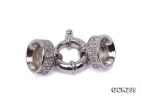 15x30mm 18K White Gold-plated Clasp Inlaid with Shiny Zircons