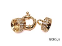 15x30mm 18K Golden Gold-plated Clasp Inlaid with Shiny Zircons