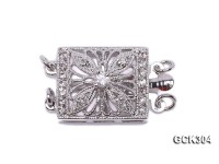 14x17mm 18K White Gold-plated Clasp Inlaid with Shiny Zircons