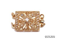 14x17mm 18K Golden Gold-plated Clasp Inlaid with Shiny Zircons