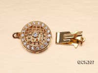 15.5mm 18K Golden Gold-plated Clasp Inlaid with Shiny Zircons