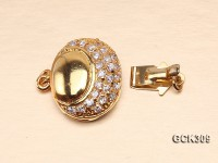 14×16.5mm 18K Golden Gold-plated Clasp Inlaid with Shiny Zircons