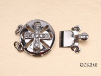 15.5mm 18K White Gold-plated Clasp Inlaid with Shiny Zircons