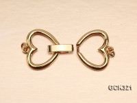 16x25mm Double-heart Golden 18K Gold-plated Clasp