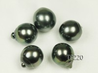 Tahitian Pearl–AAA-grade 13.5x15mm Drop-shaped Natural Black Pearl