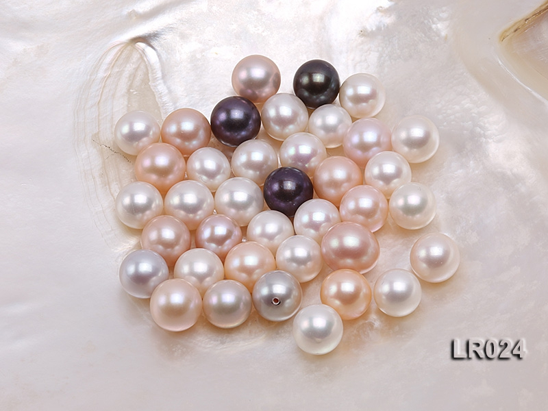 AAA-grade 11-12mm Round Natural Pink/White/Lavender Freshwater Loose Pearl