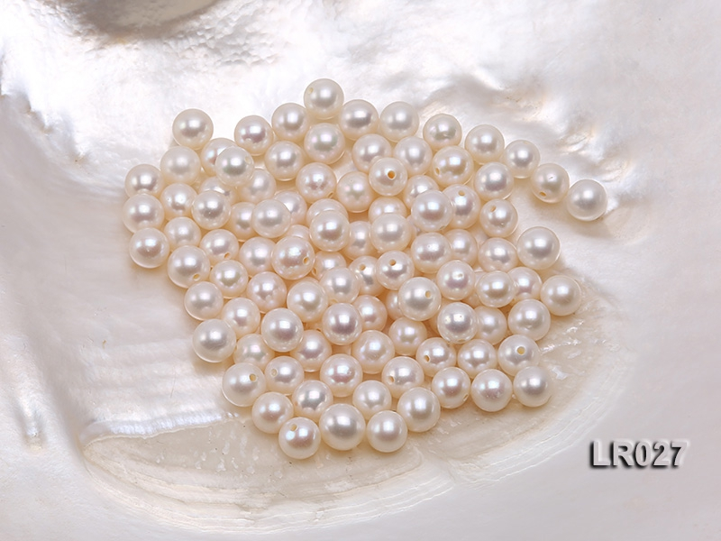 Round Pearl Wholesale—AAA Shiny 6-6.5mm Round Natural White Pearl