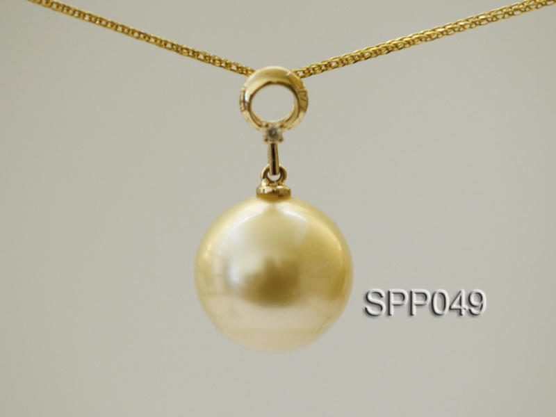 South Sea Pearl Pendant—14mm Golden South Sea Pearl Pendant in 18kt Yellow Gold